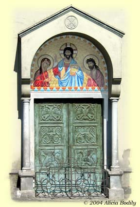 Door of the Church of San Giovanni Battista in Acquaformosa, Cosenza, Italy